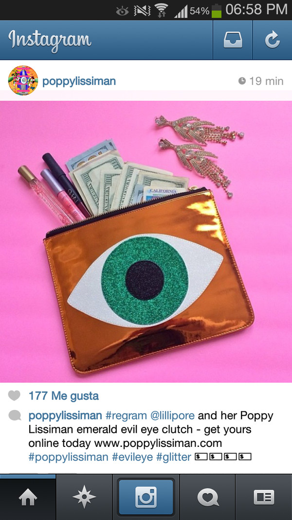 bag eye green clutch money
