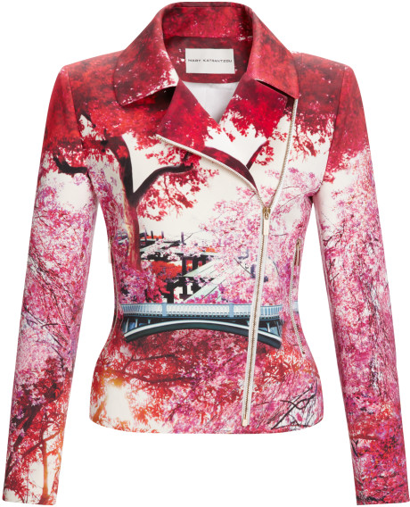 Mary Katrantzou Biker Jacket Blemish Lake in Multicolor | Lyst