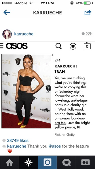 top pants chris brown black asos karrueche all black everything nightwear yellow shoes pumps instagram