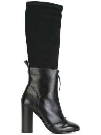 women layered boots leather black shoes