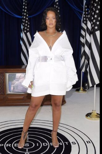 shirt white white shirt sandals belt rihanna dress shirt dress