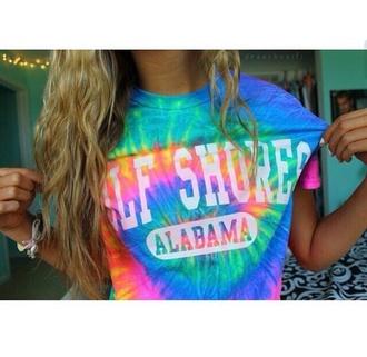 t-shirt albama tie dye rainbow colours