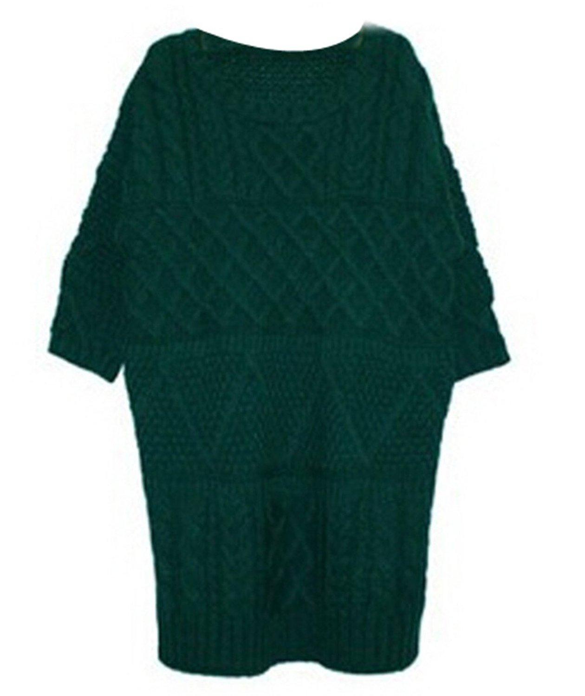 Women's Round Neck Twist Knit Half Sleeve Mini Pullover Sweater ...