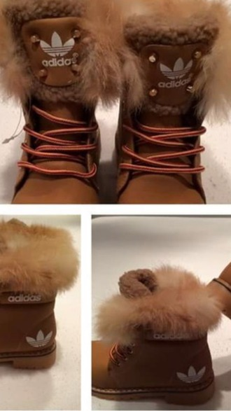 shoes brown adidas boots with furr