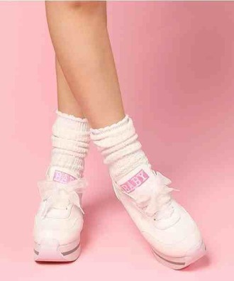 shoes white pink pastel pink white shoes socks kawaii bows pale baby japan ankle socks platform shoes platform sneakers kawaii grunge soft pink baby pink japanese fashion