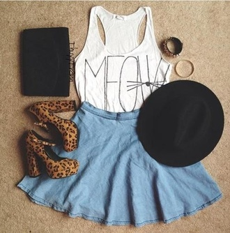 tank top meow cats white shoes skirt leopard print heels cute