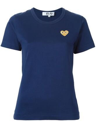 t-shirt shirt heart embroidered blue top