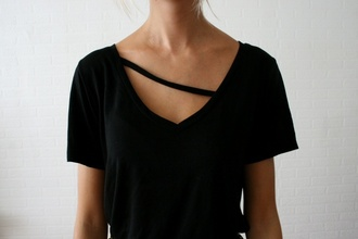 t-shirt black shirt cut-out v neck clothes beautiful black tee black top cotton unqiue top tee cut out basic tee shirt strap blouse