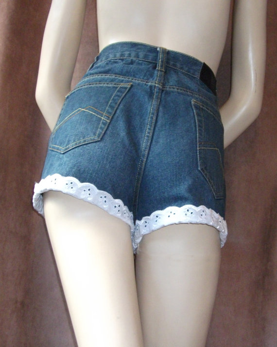 High Waist Denim Cut Off Shorts Hot Pants Denim door VintageRhythm