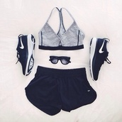 shoes,nike,running shoes,black,white,black nikes,women's nikes,shorts,tank top,sports bra,bra,fitness,top,grey and black