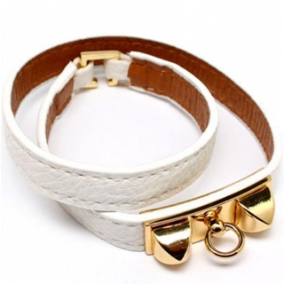 Sydnee's Slim White Imitation Leather Wrap Buckle Bracelet