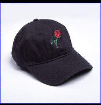 hat red flowers flower crown rose roses black black and white tumblr tumblr outfit cap baseball cap