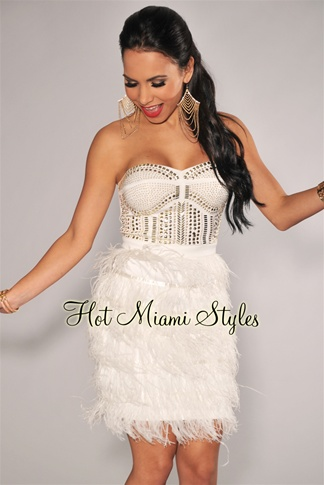 Ivory Golden Jeweled Bodice Faux-Feather Strapless Dress
