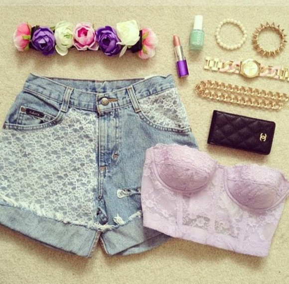 shorts high waisted short crop tops flower headband shirt jewels purple bustier flower headband lipstick bracelet chanel hat