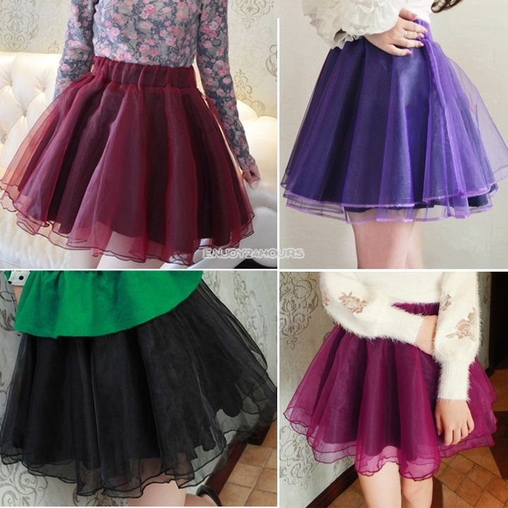 Hot women teen girls chiffon princess pettiskirt full party ballet tutu skirt