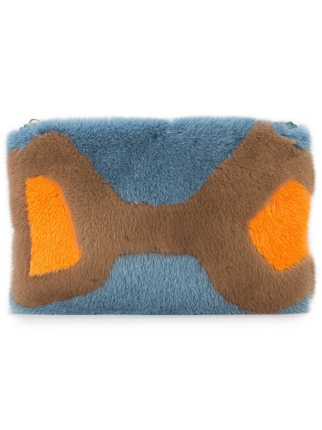Valextra fur fox women clutch leather blue bag