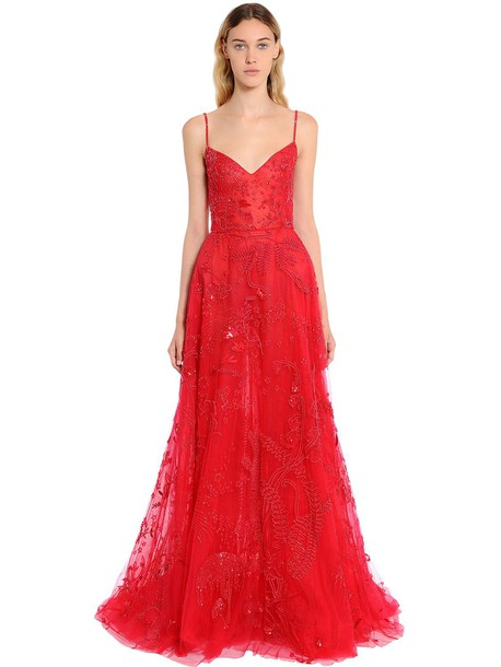 ZUHAIR MURAD Beaded Tulle Floral Gown in red