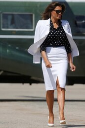 jacket,first lady outfits,suit,white,midi skirt,blouse,black and white,polka dots,melania trump