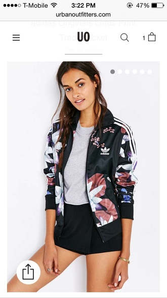 jacket addias jacket swag jacket urban urban outfitters floral adidas adidas jacket tumblr floral jacket lotus flower track jacket