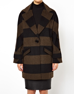 ASOS | ASOS Striped Ovoid Coat at ASOS