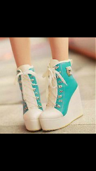 shoes platform wedges gold accent cute platform shoes platform lace up boots lace up boots aqua girly boots ulzzang seafoam blue kawaii asian fashion asian converse high top converse converse heels mint green converse green white lace-up shoes