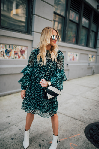 gbo fashion blogger dress shoes bag sunglasses fall outfits ankle boots white boots chain bag green dress