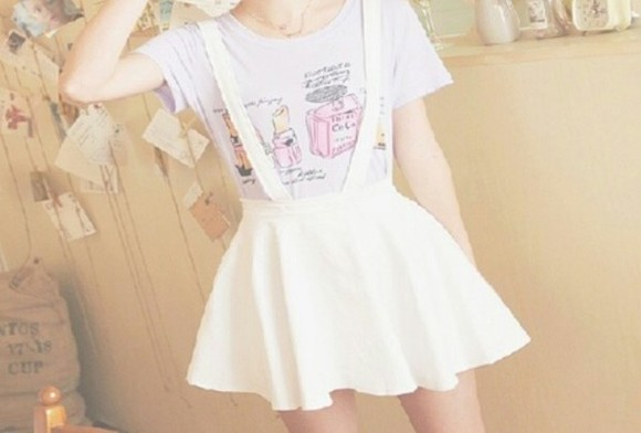 korea white korean fashion cute skirt