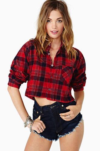 shirt flannel shirt crop tops flannel plaid red dress