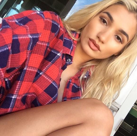 blouse tartan flannel check oversized piamia princesspiamia instagram collar long sleeves