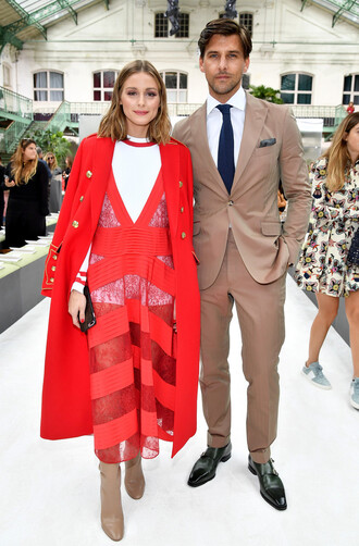 dress red dress red olivia palermo blogger paris fashion week 2017 boots see through sheer coat