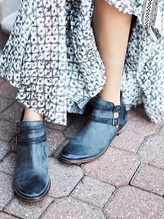 blue shoes style summer outfits boots dutch buckle buckles cut-out rugged rustic summer boots casual