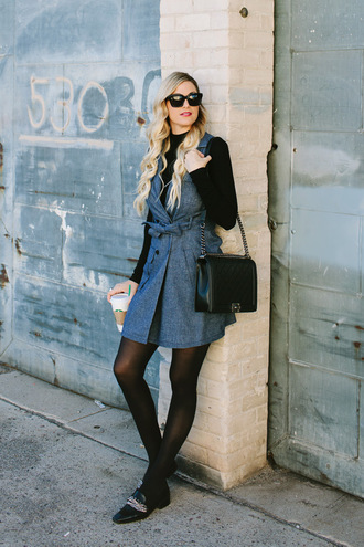 a little dash of darling blogger dress jacket top tights bag shoes make-up jewels london rebel opaque tights black turtleneck top wrap dress denim dress black bag designer bag chanel