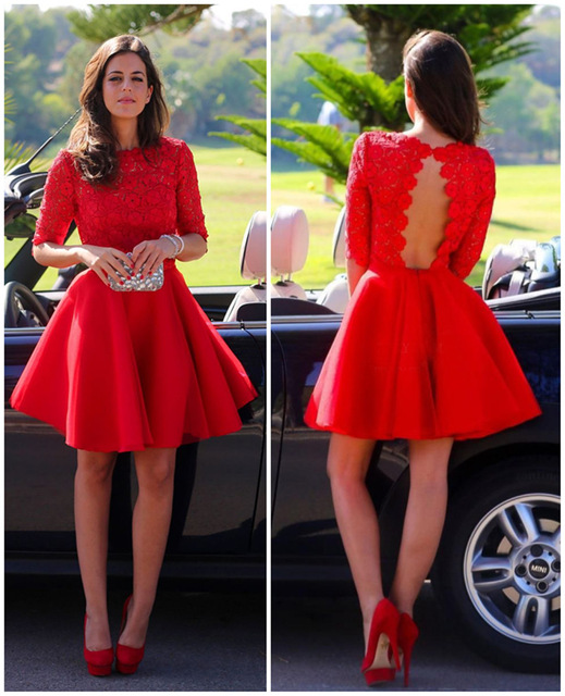 Country red lace short dresses