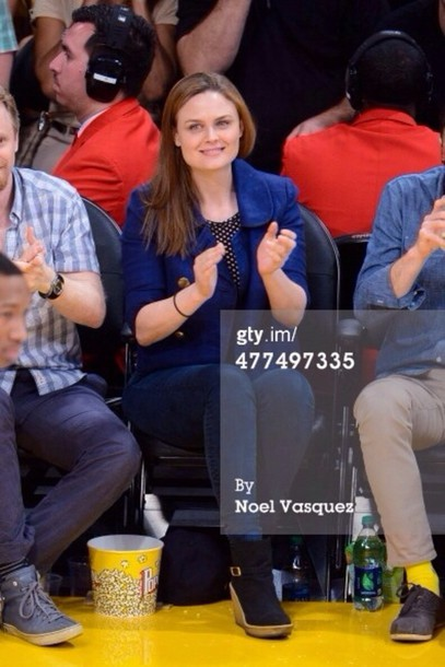 shoes emily deschanel heels wedges jacket