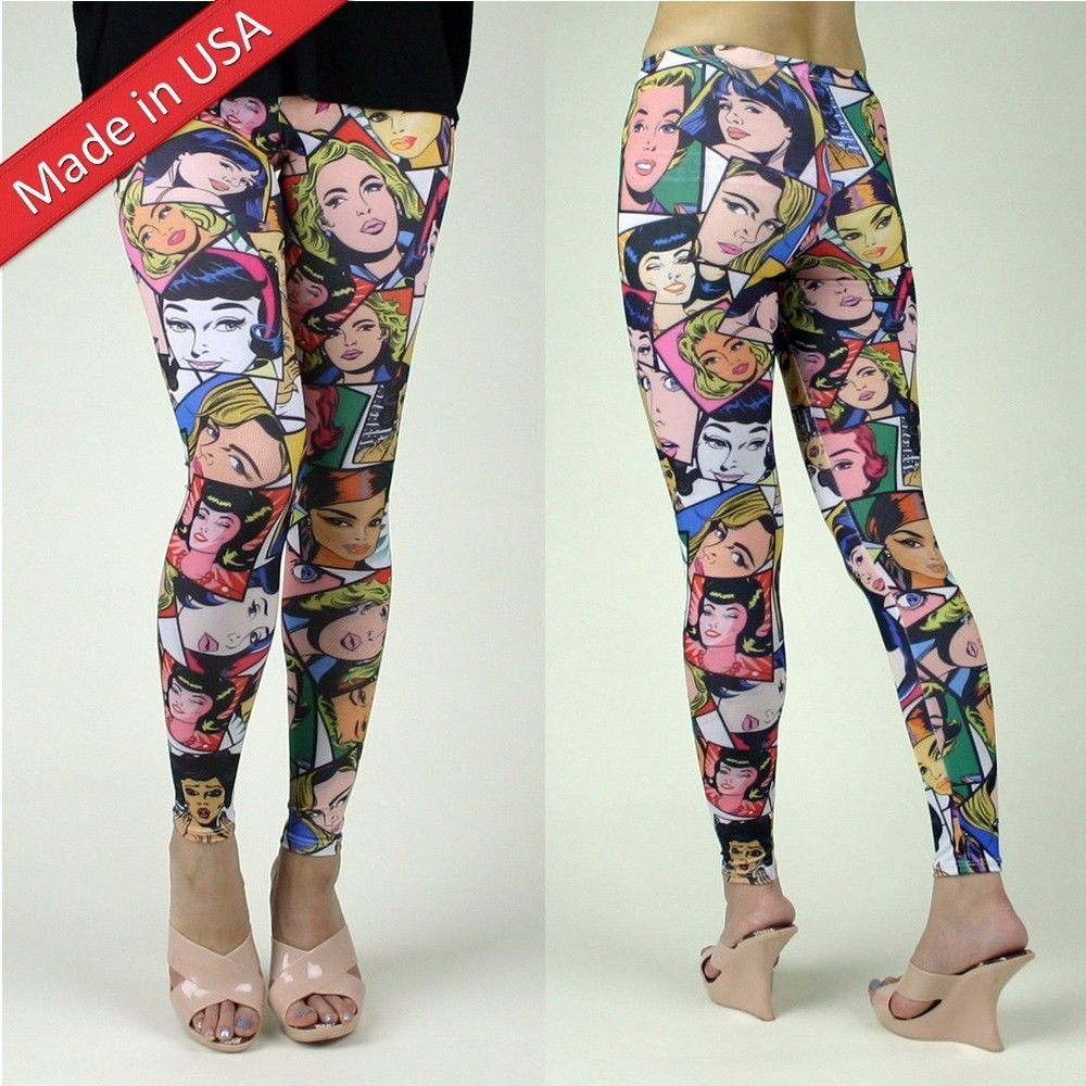 New american girls comic faces cartoon graphic print leggings pants tights usa