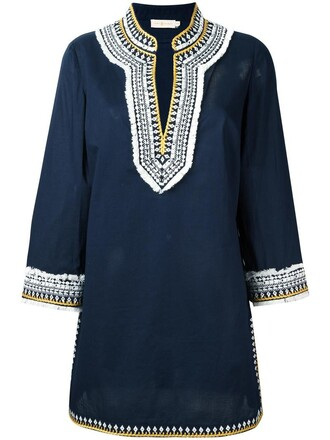 dress tunic dress embroidered women cotton blue