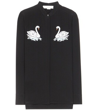 shirt embroidered silk black top