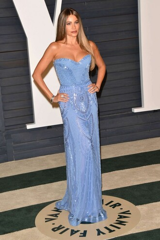 dress bustier dress gown strapless red carpet dress sofia vergara oscars 2015