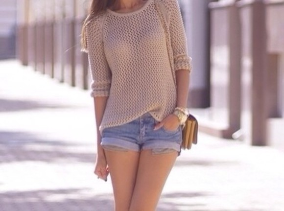 sweater beige beige sweater winter sweater shorts winter outfits denim shorts denim jewels watch gold blouse cream knitted cardigan tumblr outfit tumblr sweater
