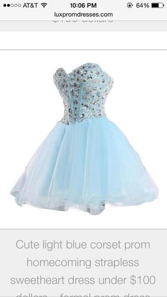 light blue diamonds bedazzle strapless corset