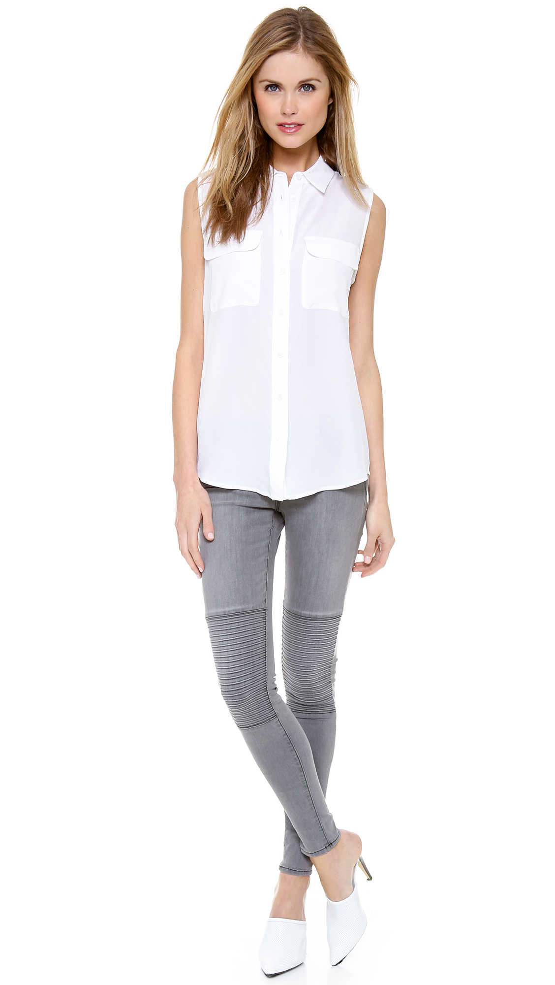 Equipment Sleeveless Slim Signature Blouse | SHOPBOP