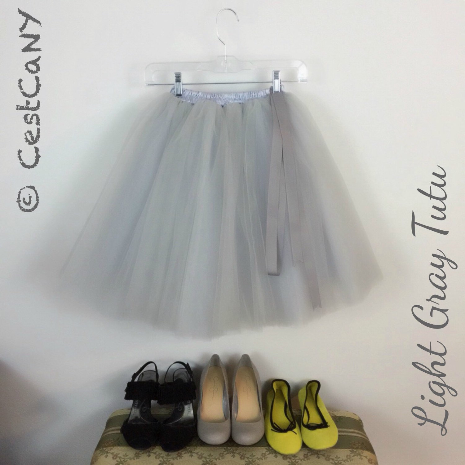 Cassie tulle skirt in light gray / layered puffy tutu / silver princess tutu / knee length midi tutu