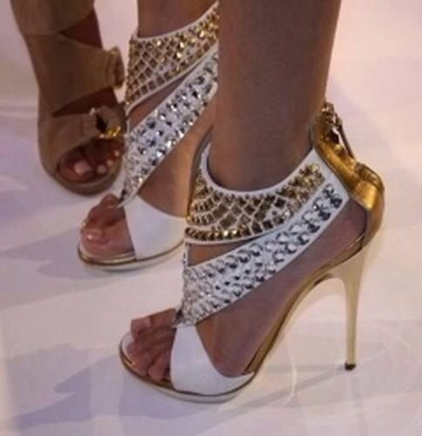 shoes gold heels high heels studded heels