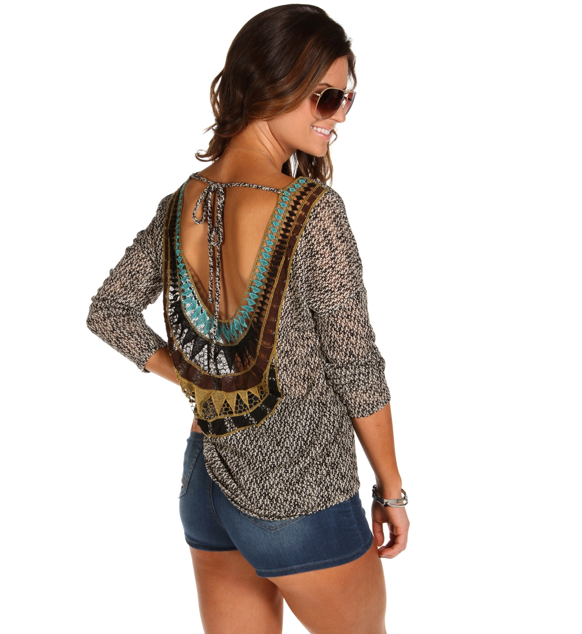 Black Crochet Back Knit Sweater