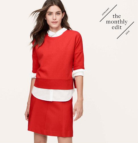 Seamed ponte flippy skirt