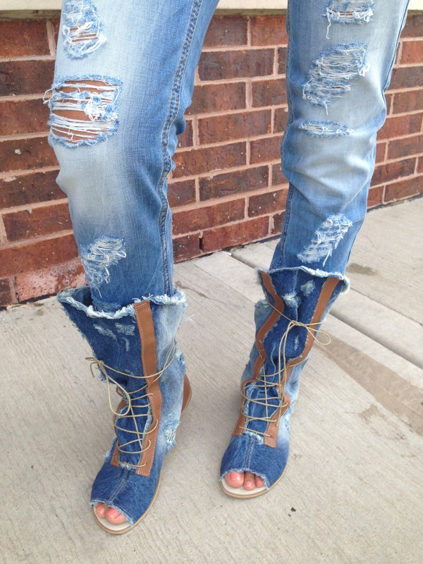 boots, denim boots, jeans boots, summer boots - Wheretoget