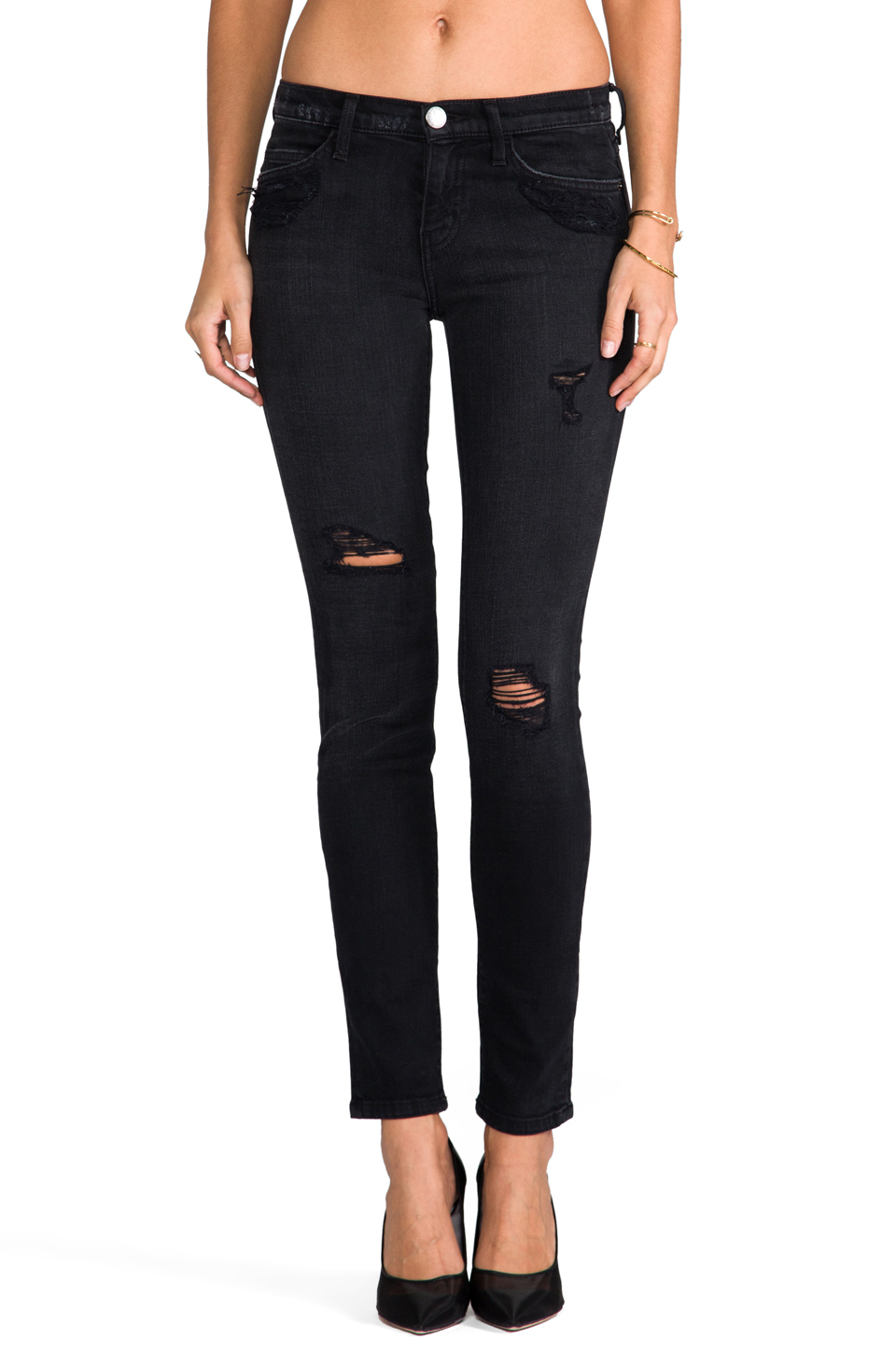 Current/Elliott The Ankle Skinny in Black Destroy | REVOLVE