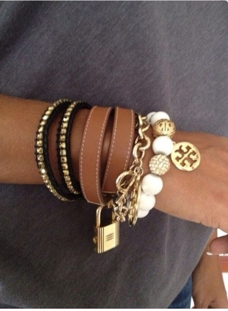 jewels tory burch bracelets white gold pearl tori burch leather bracelet stacked bracelets arm candy