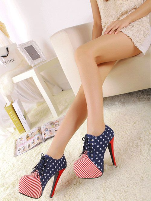 Fashionable Flag Print Stiletto Heel Platform Ankle Strap High - DualShine