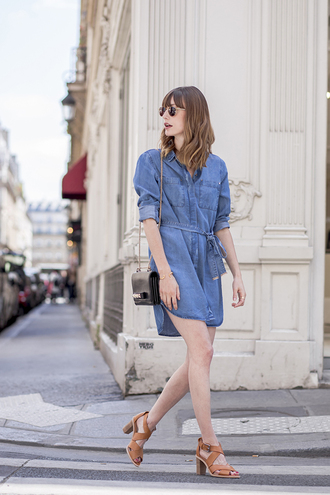 into your closet blogger dress bag sunglasses shoes denim dress